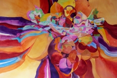 Portage Hill Gallery Award for Abstraction: Janis Stanek, Summer Lunch With Fruit