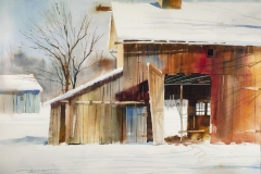 Tony Couch- Snow Scene With Barn 37 x 29  Price $1200