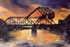 "Beverly DiPalma, Train Bridge Sunset, 22"" x 15"" image"